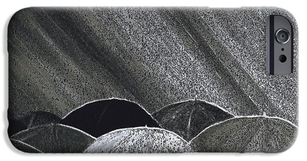 Rainy Day Mixed Media iPhone Cases - Grey Rain art in process  by jrr iPhone Case by First Star Art
