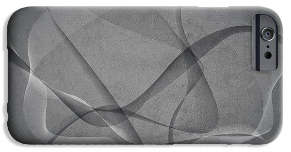 Monochromatic Digital Art iPhone Cases - Grey Spirals iPhone Case by Gary Grayson