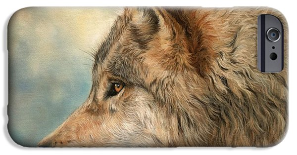 Canadian Paintings iPhone Cases - Grey Wolf 3 iPhone Case by David Stribbling