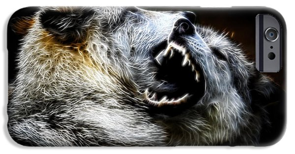 Preditor iPhone Cases - Grey Wolf Fight iPhone Case by Steve McKinzie