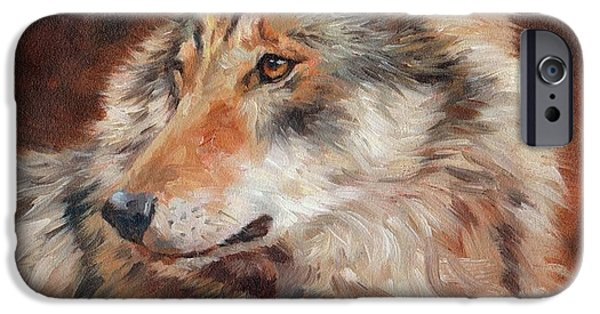 David iPhone Cases - Grey Wolf Portrait iPhone Case by David Stribbling