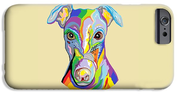 Puppy Digital Art iPhone Cases - Greyhound iPhone Case by Eloise Schneider