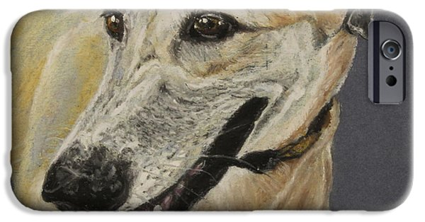 Tracks Pastels iPhone Cases - Greyhound iPhone Case by Jeanne Fischer