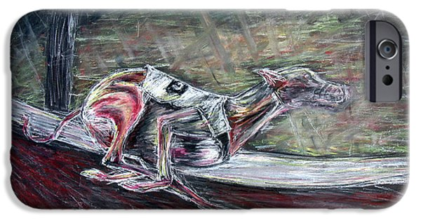 Racing Pastels iPhone Cases - Greyhound Number Three iPhone Case by Tom Conway