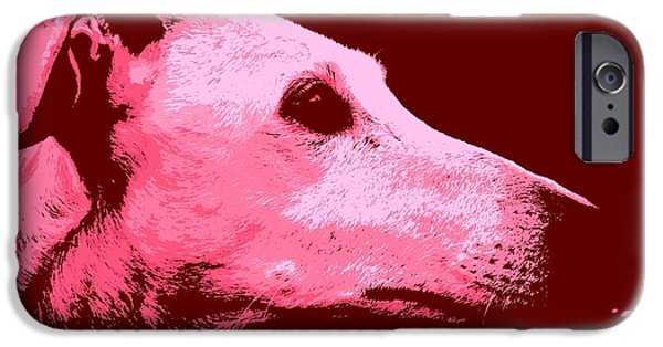 Rescued Greyhound iPhone Cases - Greyhound profile iPhone Case by Clare Bevan