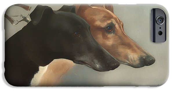 Concept Paintings iPhone Cases - Greyhounds  iPhone Case by Cheviot