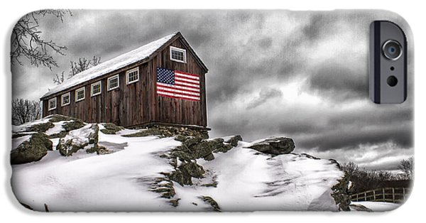 American Flag iPhone Cases - Greyledge Farm After the Storm iPhone Case by John Vose