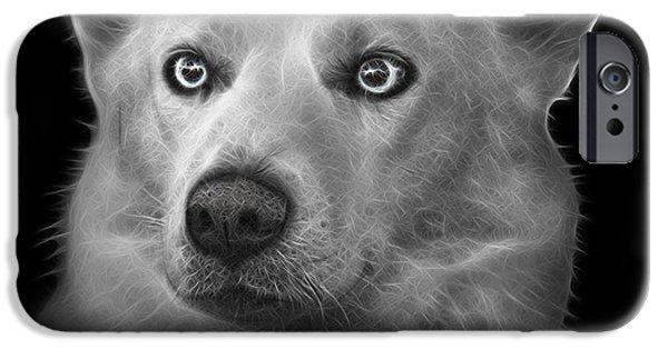 Recently Sold -  - Husky iPhone Cases - Greyscale Mila - Siberian Husky - 2103 - BB iPhone Case by James Ahn