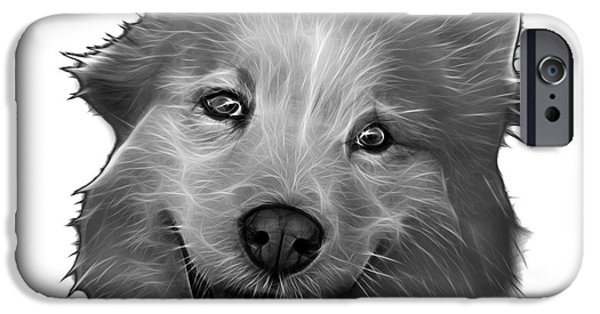 Mixed Labrador Retriever Paintings iPhone Cases - Greyscale Siberian Husky Mix Dog Pop Art - 5060 WB iPhone Case by James Ahn