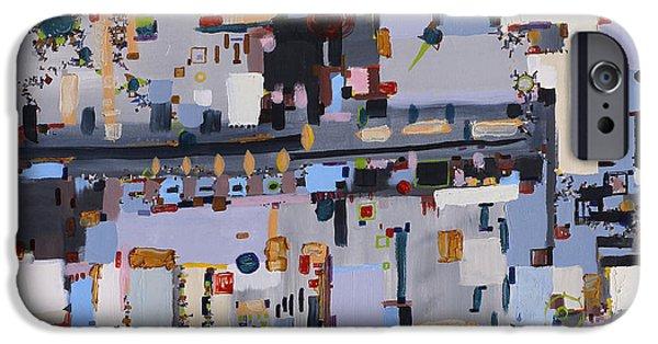 Circuit Paintings iPhone Cases - Gridlock iPhone Case by Regina Valluzzi