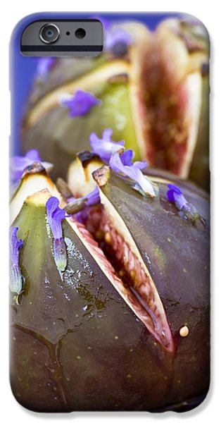 Organic Foods iPhone Cases - Grilled Figs With Lavender Honey iPhone Case by Frank Tschakert