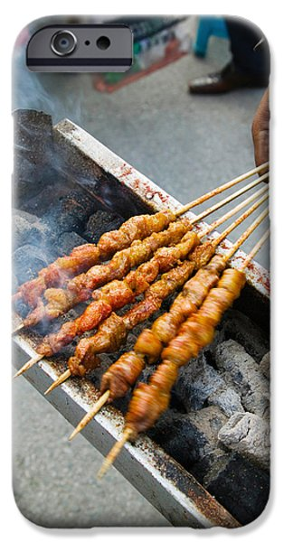 Chinese Market iPhone Cases - Grilled Meat Snack Stand In A Street iPhone Case by Panoramic Images