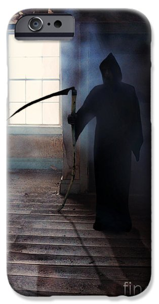 Night Angel iPhone Cases - Grim Reaper iPhone Case by Jill Battaglia