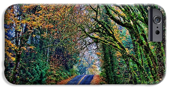 Autumn Road iPhone Cases - Grimm Drive iPhone Case by Benjamin Yeager
