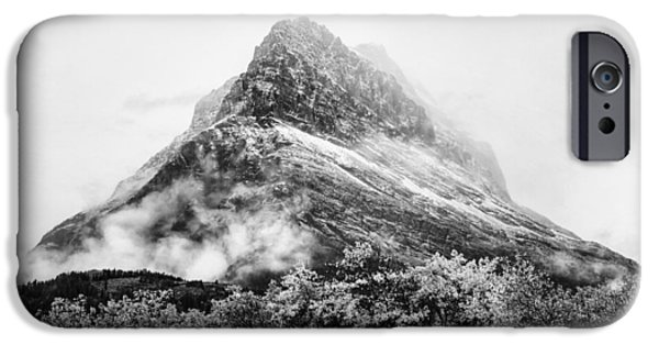 White Mountains iPhone Cases - Grinnell Point Black and White iPhone Case by Mark Kiver