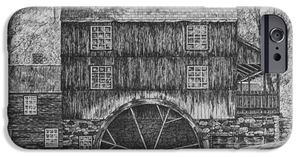 Grist Mill Drawings iPhone Cases - Grist Mill iPhone Case by Christine Brunette