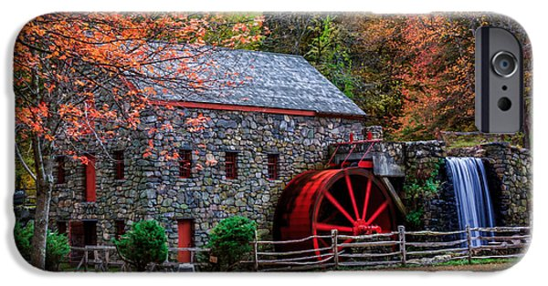 Sudbury Ma iPhone Cases - Grist Mill in Autumn iPhone Case by Laura Duhaime