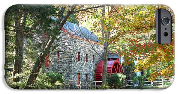 Sudbury Ma iPhone Cases - Grist Mill in Fall iPhone Case by Barbara McDevitt