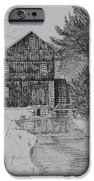 Grist Mill Drawings iPhone Cases - Grist Mill In Winter iPhone Case by Christine Brunette