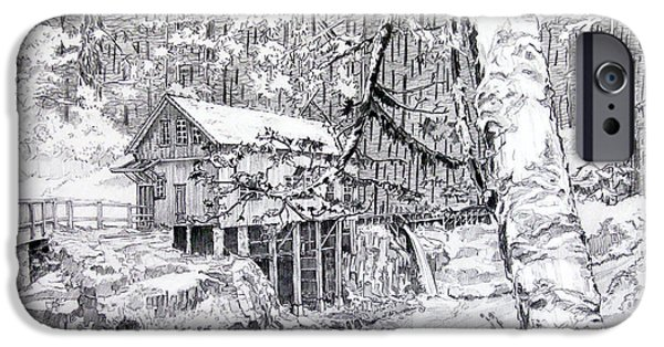 Grist Mill Drawings iPhone Cases - Grist mill on a winter night landscape iPhone Case by Gary Beattie