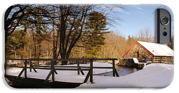 Sudbury River iPhone Cases - Grist Mill Stream at Christmas - Greeting Card iPhone Case by Mark Valentine