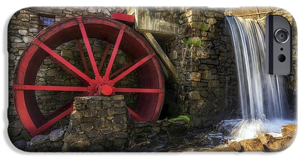 Boston Ma iPhone Cases - Grist Mill Waterfall iPhone Case by Mark Papke