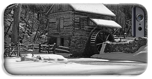 Grist Mill iPhone Cases - Grist Mill Winter in Black and White iPhone Case by Paul Ward