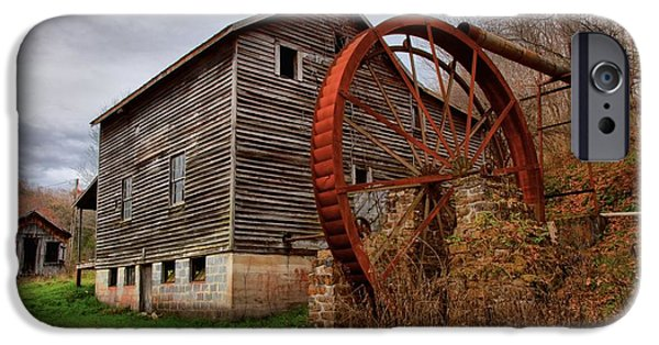 Grist Mill iPhone Cases - Grist Mill With A Giant Wheel iPhone Case by Adam Jewell