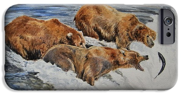 Grizzly iPhone Cases - Grizzlies fishing iPhone Case by Juan  Bosco