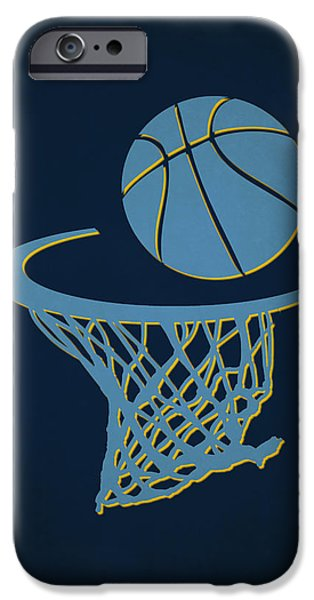 Grizzly iPhone Cases - Grizzlies Team Hoop2 iPhone Case by Joe Hamilton