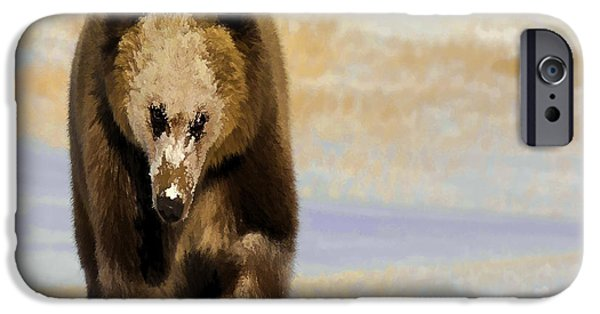 Animals Photographs iPhone Cases - Grizzly Bear-Art iPhone Case by Wildlife Fine Art