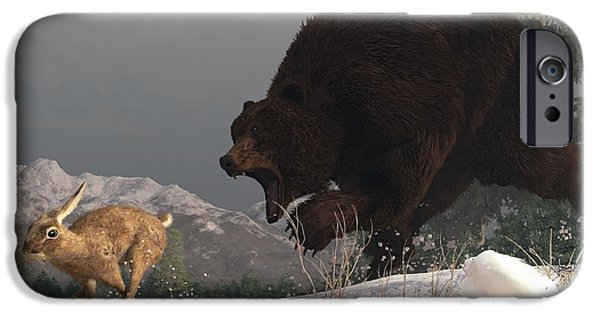 Grizzly Bear Chasing Rabbit iPhone Case by Daniel Eskridge