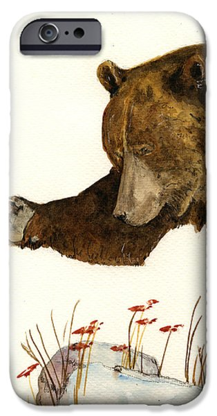 Grizzly iPhone Cases - Grizzly bear first part iPhone Case by Juan  Bosco