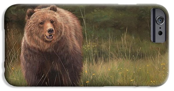Grizzly iPhone Cases - Grizzly iPhone Case by David Stribbling