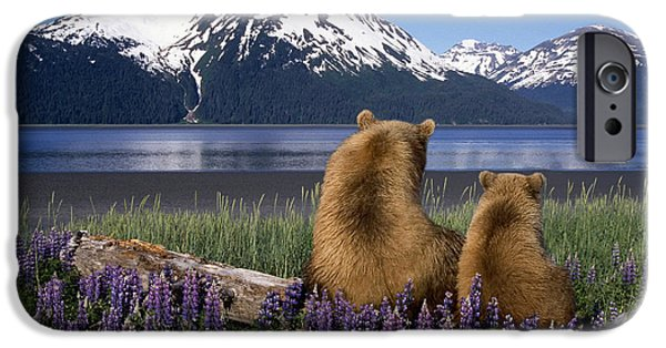Bonding iPhone Cases - Grizzly Sow & Cub Sit On Log & View iPhone Case by Composite Image