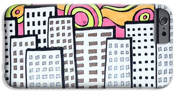 City Scape Drawings iPhone Cases - Groovy Sunrise iPhone Case by Jo Claire Hall