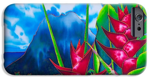 Abstracts Tapestries - Textiles iPhone Cases - Gros Piton and Heliconia iPhone Case by Daniel Jean-Baptiste