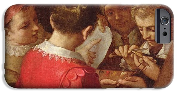 Painter Photographs iPhone Cases - Group Of Artists Oil On Canvas iPhone Case by Annibale Carracci