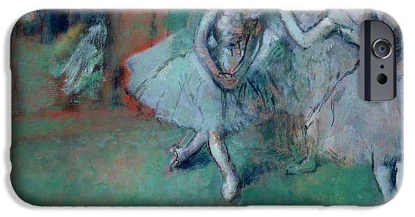 Ballet Dancers Photographs iPhone Cases - Group Of Dancers, 1890s Oil On Paper Laid On Canvas iPhone Case by Edgar Degas