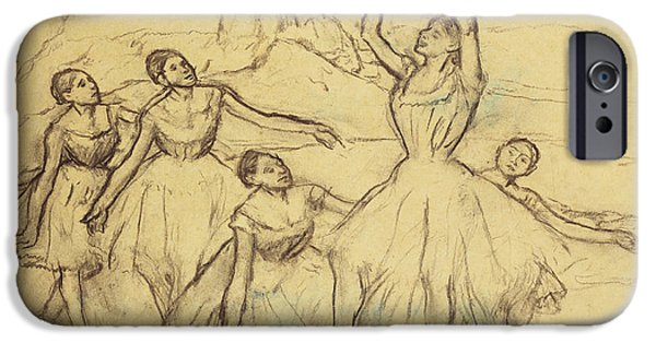 Ballet Drawings iPhone Cases - Group of Dancers iPhone Case by Edgar Degas
