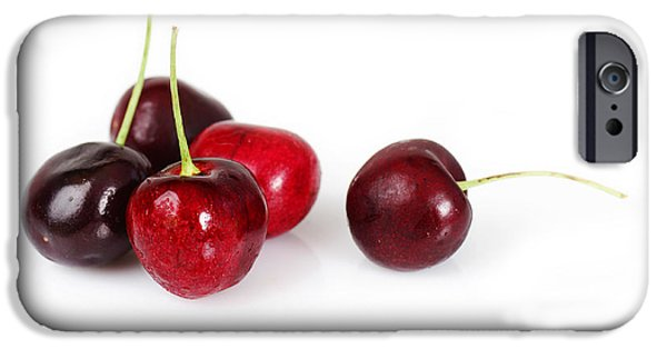 Berry iPhone Cases - Group of delicious cherries iPhone Case by Sylvie Bouchard