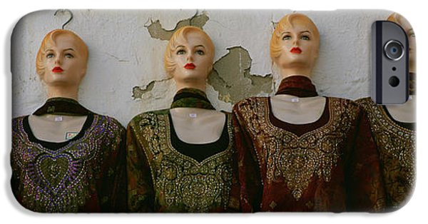 Absence iPhone Cases - Group Of Mannequins In A Market Stall iPhone Case by Panoramic Images