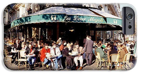 Local Food iPhone Cases - Group Of People At A Sidewalk Cafe, Les iPhone Case by Panoramic Images
