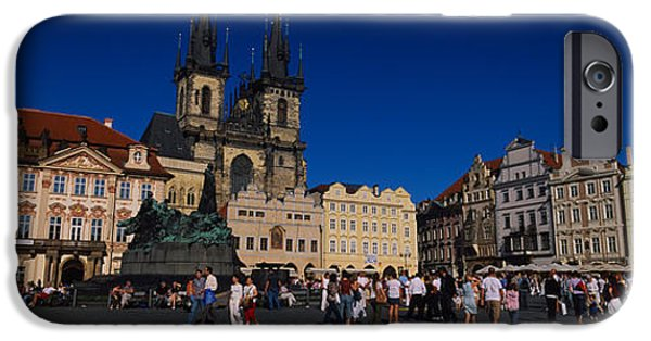 Town Square iPhone Cases - Group Of People At A Town Square iPhone Case by Panoramic Images