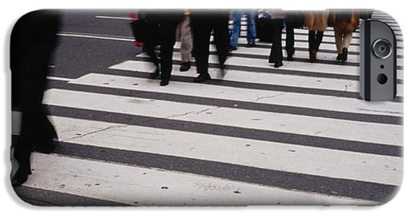 Crosswalk iPhone Cases - Group Of People Crossing At A Zebra iPhone Case by Panoramic Images