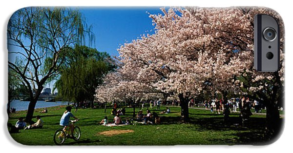 Cherry Blossoms iPhone Cases - Group Of People In A Garden, Cherry iPhone Case by Panoramic Images