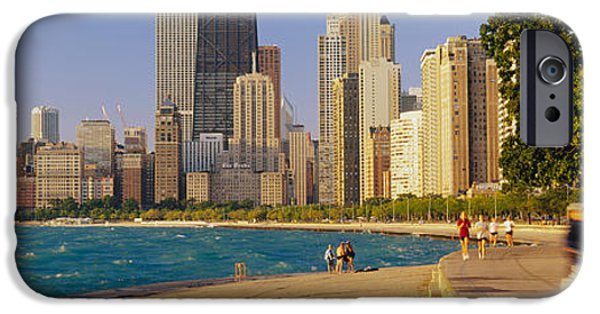 Jogging iPhone Cases - Group Of People Jogging, Chicago iPhone Case by Panoramic Images