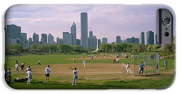 Chicago iPhone Cases - Group Of People Playing Baseball iPhone Case by Panoramic Images