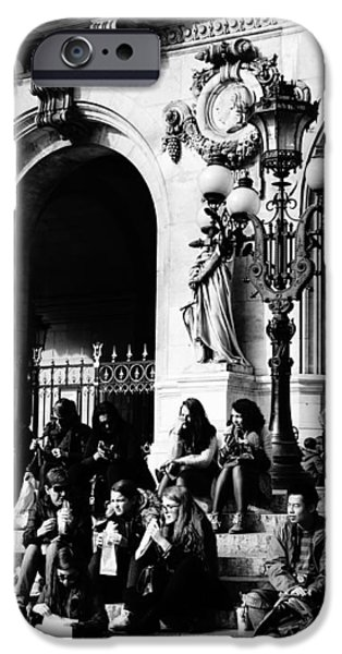 Ballet Of Colors iPhone Cases - Group Of People Sitting On The Steps Of The Palais Garnier iPhone Case by Richard Rosenshein