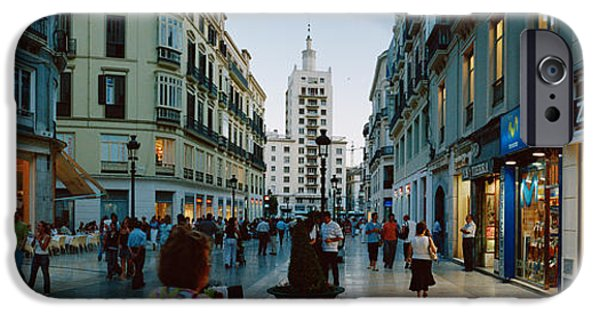 Malaga iPhone Cases - Group Of People Walking On A Street iPhone Case by Panoramic Images
